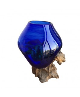Glass Aquarium Blue and Teak Base