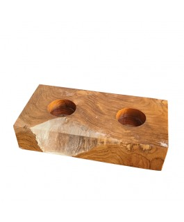 Rectangular Teak Wood and Transparent Resin Candlestick