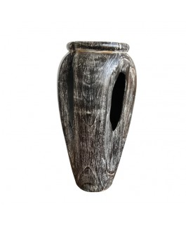 Black and White Teak Wood Jar