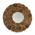 Round Mirror Teak Wood Pieces Natural Finish