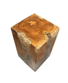 Designer Stool in Teakwood and Transparent Resin