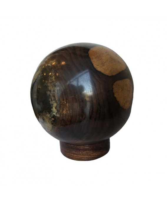 Black Teak Ball and Clear Resin