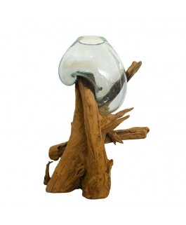 Aquarium on Teak Wood Sculpture