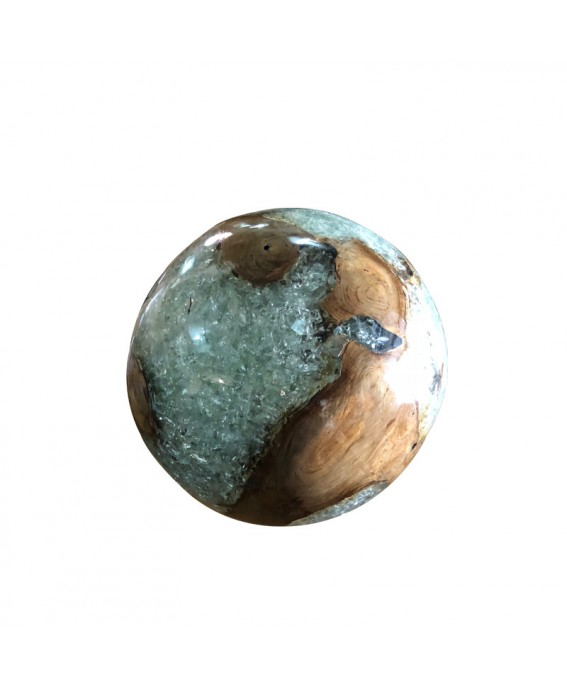 Ball in Solid Teak Wood and Transparent Resin
