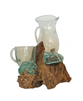 Glass and Carafe Glass Blown On Base In Solid Teak