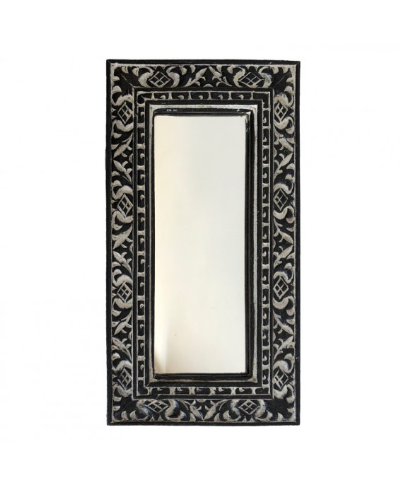 Mini Mirror In Black Albésia Wood