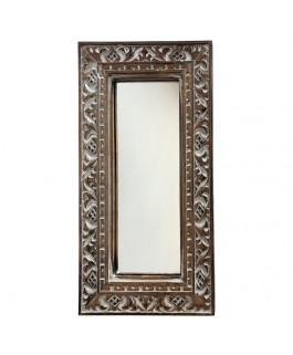 Mini Mirror In Natural and White Albésia Wood
