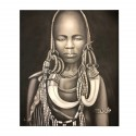 Black and White Painting Representing an African Women