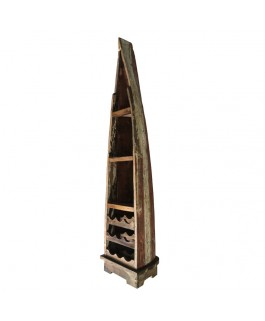 Recycled Pirogue Solid Wood Cabinet with Wine Cellar