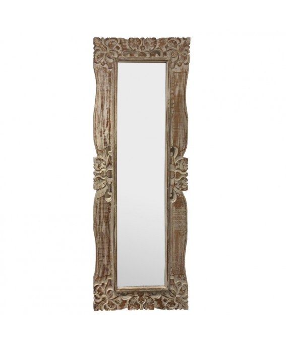 Giant Mirror in Natural and White Albésia Wood