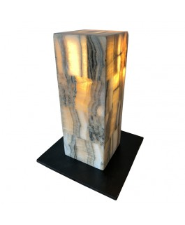 Onyx Lamp and Metal Foot