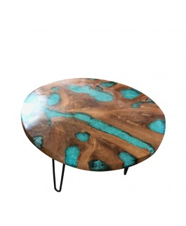 Coffee Table in Teak and Polishes Finish Blue