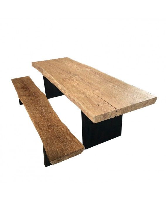Luxury Design Table and 4 Benches in Natural Teak