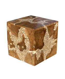 Square Ottoman in Piece of Teak and White Resin
