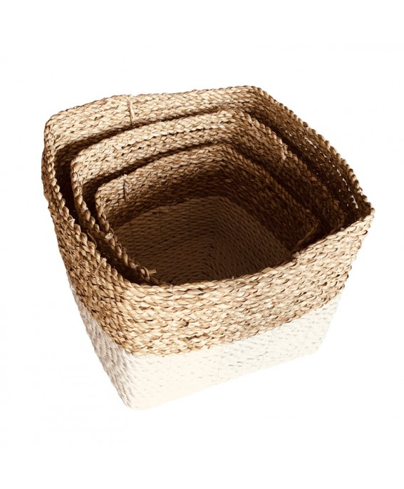 Set of 3 Square Braided Baskets