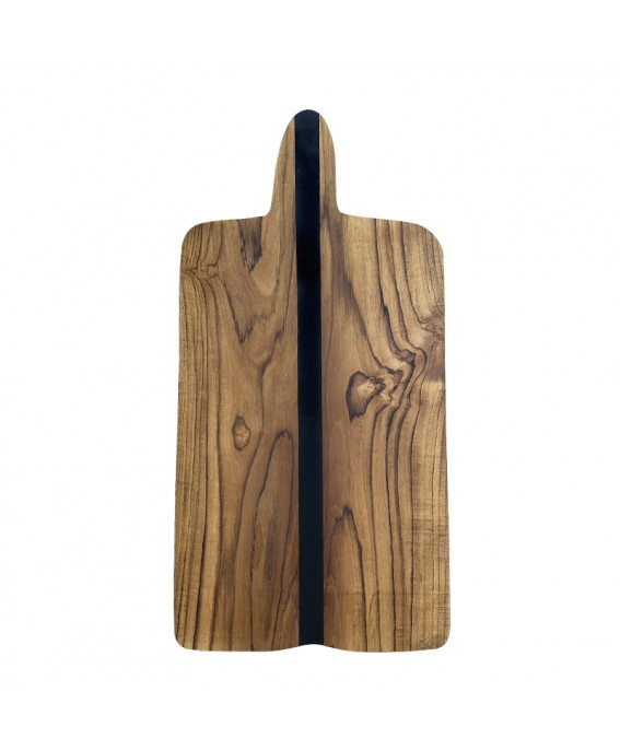 Suar Wood and Black Resin Charcuterie Board