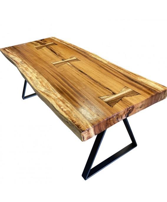 Suar Wood and Black Resin Coffee Table