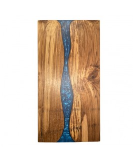 Teak Wood and Blue Resin Charcuterie Board