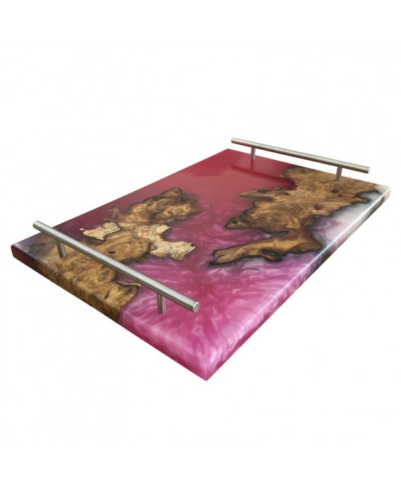 Olive Wood and Pink Resins Tray