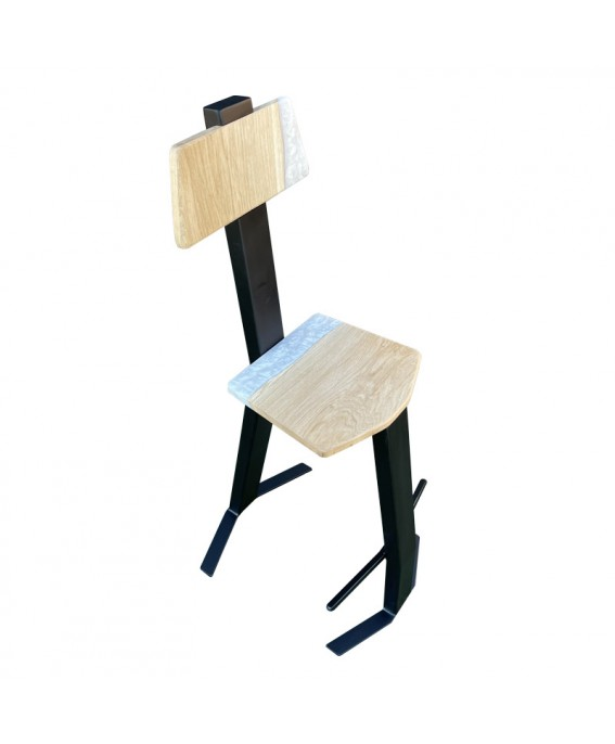 Design Stool in Oak Wood and White Resin